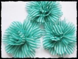 XXL-bloem - gestreept met tule, teal - 10 cm.