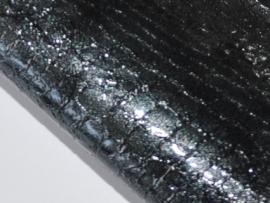 Lapje slangenleer, zwart - 20 x 22 cm.