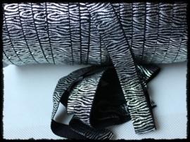 Elastisch band zebra, zwart / zilver - 16mm.