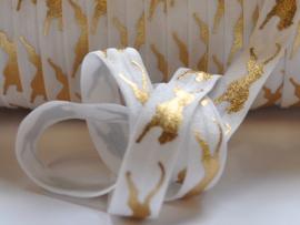 Elastisch band, wit met gouden cheetah - 16mm.