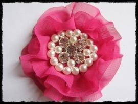 XL-bloem - luxe chiffon met parels en strassteentjes, fuchsia - 9 cm.