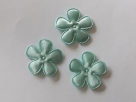 Satijnen bloemetjes, oudgroen (moss-kleur van quapi) - 4 stuks - 35mm.