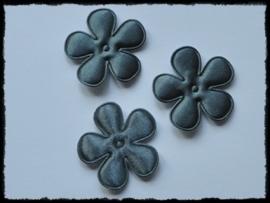 Satijnen bloemetjes, donkergrijs- 4 stuks - 35mm.