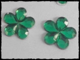 Flatback bloemetjes, groen - 10mm - 10 stuks