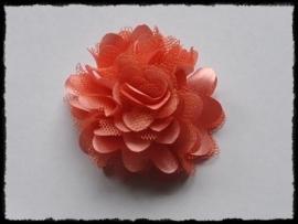 XL-bloem satijn met tule, koraal - 5 cm.