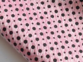 Fluffy lapje, roze met zwarte stip - 20x22 cm.