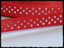 Grosgrain, rood met zilveren stipjes, 5m.
