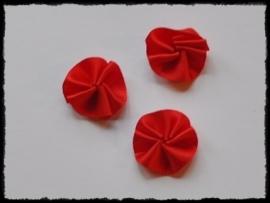 Satijnen rozetjes, rood - 4 stuks - 20mm.