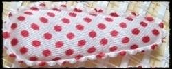 (md) Haarkniphoesjes incl knipjes -  wit polkadot (rode stipjes), satijn - 2 stuks