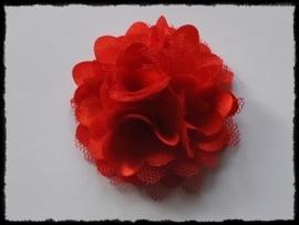 XL-bloem satijn met tule, rood - 5 cm.