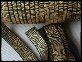 Elaststisch band zebra, zwart / goud - 16mm.