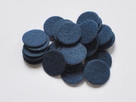 Rondjes van vilt, donkerblauw - 25mm.