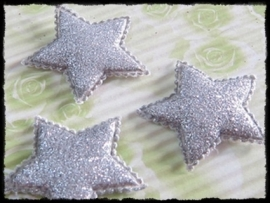 Sterren, zilver glitter - 4 stuks - 35mm.