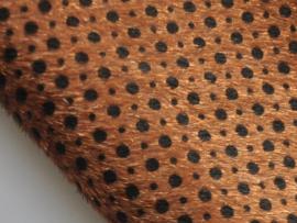 Fluffy lapje, bruin met zwarte stip - 20 x 22 cm.