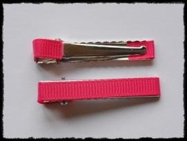 Alligator clips bekleed, fuchsia - 2 stuks - 47mm.