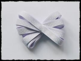 Grosgrain 10mm, pastel lila polkadot - 5 meter