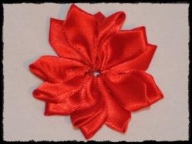 Satijnlint rozet, rood - 5 cm.