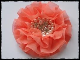 XL-bloem - luxe chiffon met parels en strassteentjes, koraal - 9 cm.