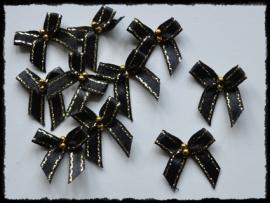 Zwart strikje met goud randje en kraaltjes - 4 stuks - 3 cm.