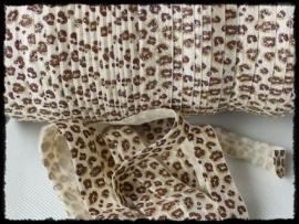 Elastisch band, luipaard met glitter - 16mm.