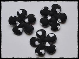 Katoenen bloemetjes, zwart met hartjes - 4 stuks - 35mm.