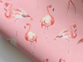 Lapje PU leer met flamingo, roze - 20 x 22 cm.