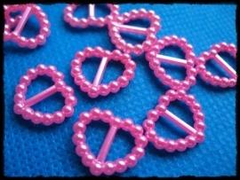 Hartvormige sliders roze - voor lint van 10 mm. - 4 stuks