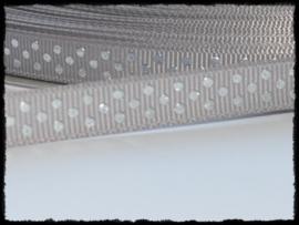 Grosgrain, grijs met zilveren stipjes, 5m.