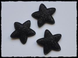 Sterren, zwart glitter - 4 stuks - 25mm.