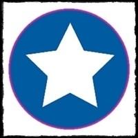 etiketten met ster, blauw - 10 stuks