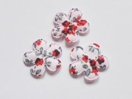 Katoenen bloemetjes, lichtroze met rode roosjes - 4 stuks - 25mm.
