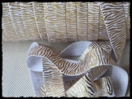 Elastsich band zebra, wit / goud - 16mm.