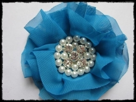 XL-bloem - luxe chiffon met parels en strassteentjes, turquoise - 9 cm.