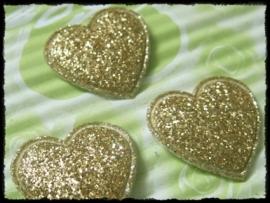 Hartjes, goud glitter - 4 stuks - 20mm.