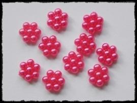 Parelbloemetjes fuchsia - 10 stuks - 1 cm.