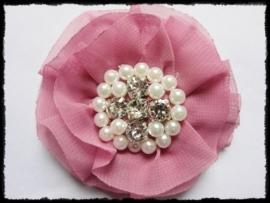 XL-bloem - luxe chiffon met parels en strassteentjes, oudroze - 9 cm.