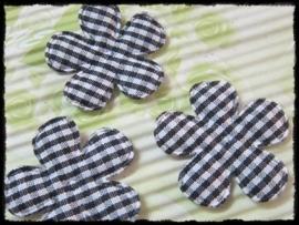 Geruite bloem, zwart - 4 stuks - 35mm