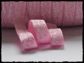 Elastisch band sparkling, roze  - 16mm.