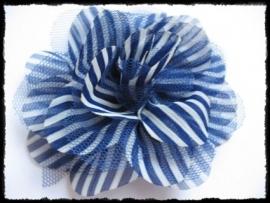 XXL-bloem - gestreept met tule, kobalt - 10 cm.