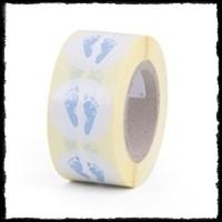 Etiketten babyvoetjes, blauw - 10 stuks