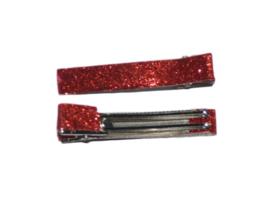 Alligator clips bekleed met glitter, rood - 6 cm.