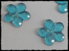 Flatback bloemetjes, aqua - 10mm - 10 stuks