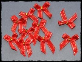 Rood strikje met goud randje en kraaltjes - 4 stuks - 3 cm.
