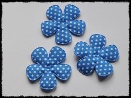 Katoenen polkadot bloem, kobalt - 4 stuks - 47mm.