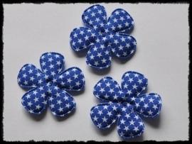Katoenen bloemetjes, kobalt met sterren - 4 stuks - 47mm