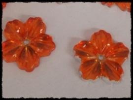 Flatback bloemetjes met gaatje, oranje - 10 stuks - 13mm.