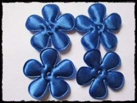 Satijnen bloemetjes, kobalt - 4 stuks - 3,5 cm.