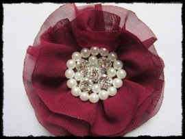 XL-bloem - luxe chiffon met parels en strassteentjes, bordeaux - 9 cm.