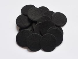 Rondjes van vilt, zwart - 4 stuks - 3,5 cm.