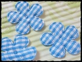 Geruit bloemetje lichtblauw - 4 stuks - 2,5 cm.
